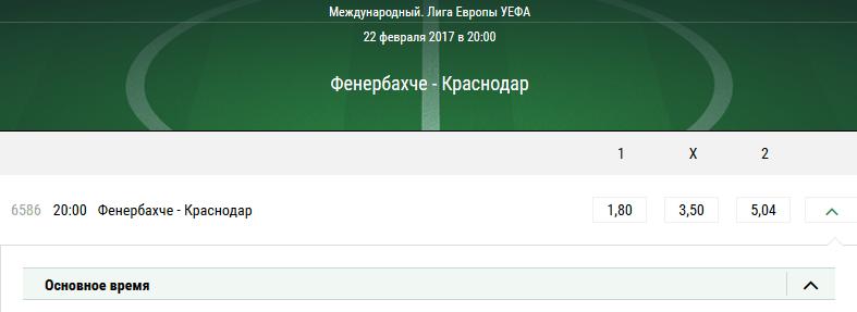 Фенербахче – Краснодар. Котировки букмекеров на матч Лиги Европы УЕФА