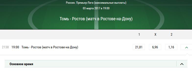 Томь – Ростов. Котировки букмекеров
