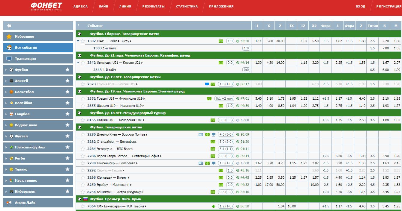 Официальный сайт БК Фонбет