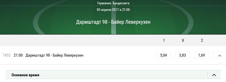 Дармштадт 98 — Байер Байер Леверкузен. Котировки в БК Лига Ставок