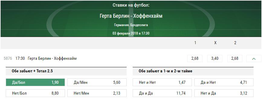 Герта - Хоффенхайм. Прогноз матча чемпионатаГермании