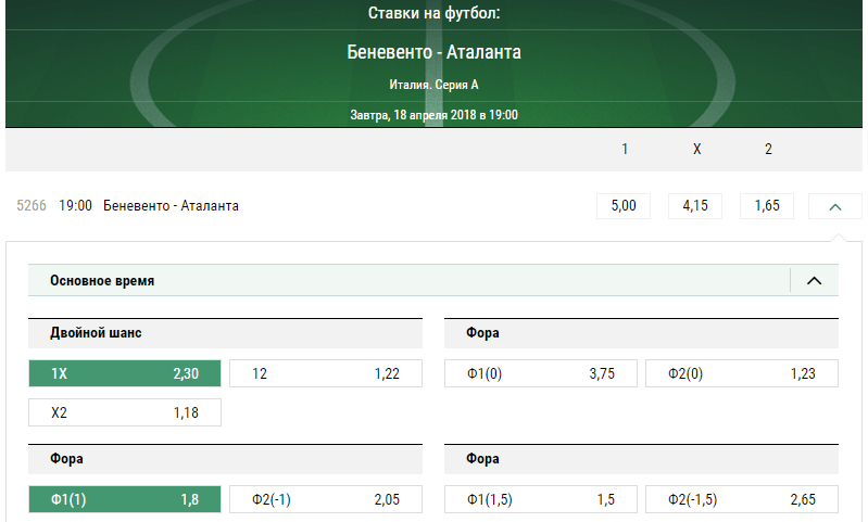 Беневенто - Аталанта. Прогноз матча чемпионата Италии