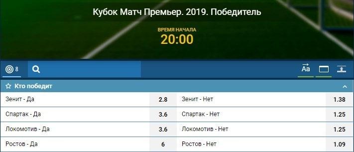 БК 1хСтавка принимает ставки на Кубок «Матч Премьер» 2019