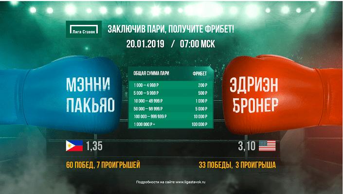 Фрибет до 100 000 рублей за ставки на бой Пакьяо – Бронер