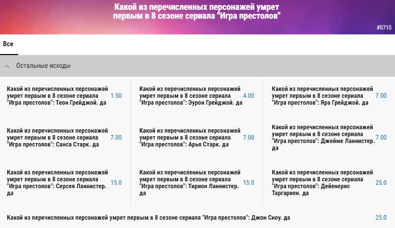 Ставки на итоги «Игры Престолов» в БК Париматч