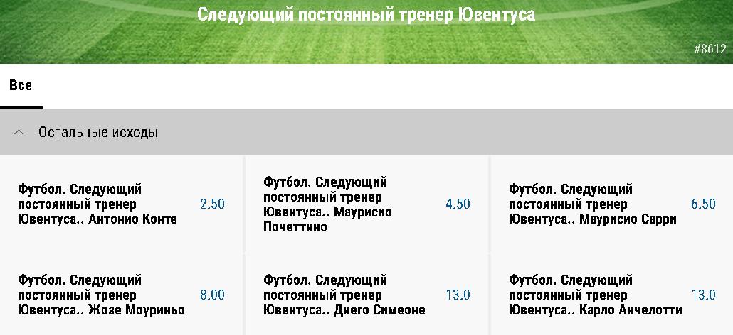 Назовите имя нового тренера Ювентуса с БК Париматч