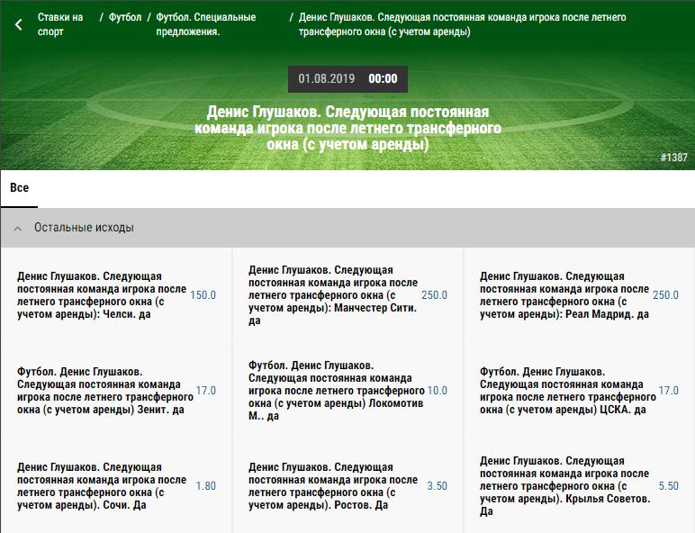 Кто подпишет Глушакова – версии БК Париматч