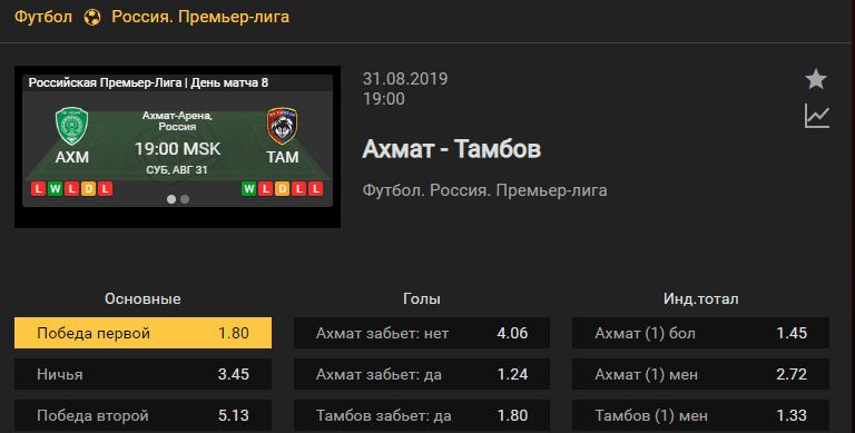 Ахмат - Тамбов. Прогноз матча 8 тура чемпионата России
