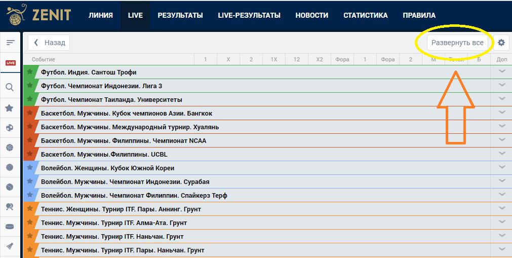 Как делать лайв ставки в БК Зенит?