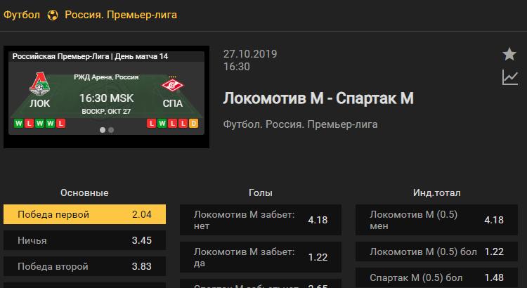 Локомотив Москва – Спартак Москва. Прогноз матча 14 тура первенства России