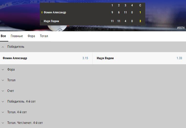 Линия на настольный теннис в Париматч