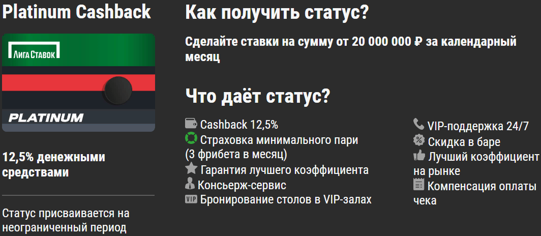 VIP статус новым игрокам от БК Лига Ставок